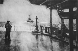 Etching entitled Aboard the Ferry by Joseph Peller.