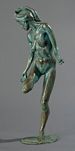 bronze entitled Looking at Her Foo by Joseph Peller.