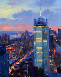 painting entitled Skyline at Dusk by Joseph Peller.